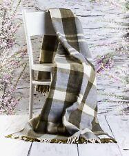 Merino Wool Lamb Wool Sofa Pad Bed Blanket Tartan Throw 155/200cm Double RRP89