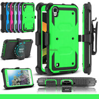 For LG X Style/Tribute HD Case Hybrid Shockproof Hard Holster Stand Phone Cover