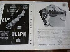LIP montre 32 + CADILLAC publicité papier ILLUSTRATION 1929