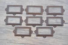Vintage reclaimed iron cabinet drawer label frame holders handles knobs pulls