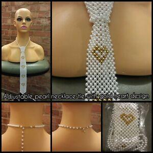 Adjustable Long Classic Designer Pearl Neck Tie Necklace Hearts / Zigzag pattern