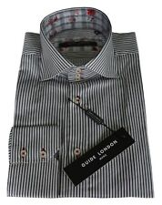 Guide London Black & White Striped Contrast Collar Shirt Ls.71809 Men's Size M