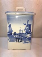 Vtg 30's? Czech Pottery TEA Canister Flow Blue Nautical Sailboat Dutch Windmill