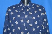 vintage 70s JC PENNEY BIG COLLAR BUILDING CITY PARK PRINT BLUE 1970S SHIRT MED M