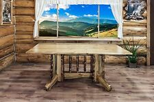 Rustic Log Pedestal Table Amish Made Kitchen Tables Lodge Cabin Furniture