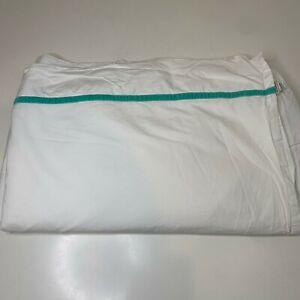 flat sheet with green velvet trim color white size 100% cotton twin 75x90 mi