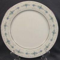 """Noritake Frolic 2352 Dinner Plate Porcelain Blue Flowers White Scrolls 10.5"""""""