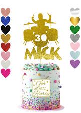 Personalizado De Cumpleaños Cake Topper con guitarra, música, Boda, Fiesta, brillo.
