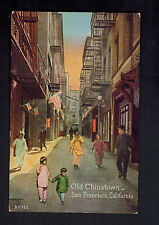 Mint San Francisco Usa Old Chinatown Ppc Postcard Chinese Pedestrians on Street