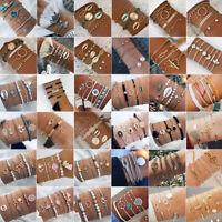Charm Women Boho Chain Bracelets Natural Stone Crystal Bangle Jewelry Set Gifts