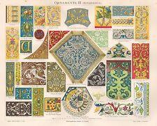 B6590 Ornamenti Rinascimentali - Cromolitografia antica del 1890