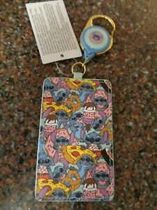 Disney Stitch's Lunch Time Retractable Lanyard ID Badge Holder NEW Food Lilo NWT