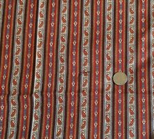 "VIP Cranston Small Paisley Stripe Rust Brown Teal Cotton Fabric 44""W x 2 Yards"