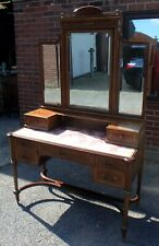 Fine Edwardian antique mahogany brass inlaid French Empire style dressing table