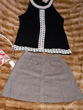 Vintage 90's World LOB Clothing tweed high waist button front mini skirt, 60's L