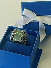 size 6 VINTAGE 925 STERLING SILVER WOMEN'S BIG GENUINE JADE & MARCASITE RING New