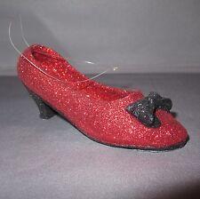 RED BLACK GLITTER KITTEN HIGH HEEL CHRISTMAS ORNAMENT