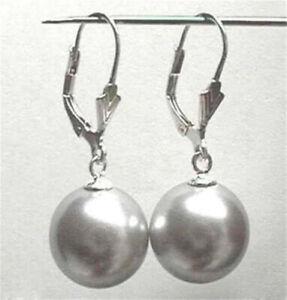Genuine 12mm Grey Shell Pearl Round Beads Drop Silver Dangle Earrings