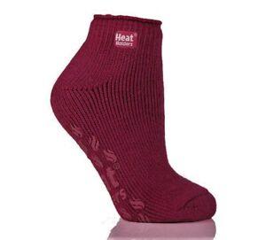 Heat Holders Ladies Slipper Socks GRIPPERS Anklet Deep Fuchsia (Burgundy) - NEW