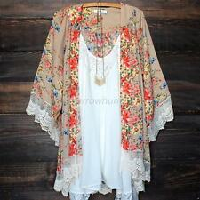 Women Floral Loose Lace Shawl Kimono Chiffon Cardigan Ladies Jacket Blouse Tops