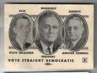 1936 Pennsylvania Poll Card Franklin Roosevelt F. Clair Ross Warren Roberts