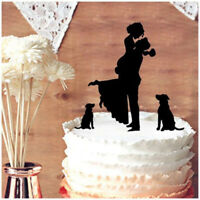 Family Cake Topper Bride and Groom with Dogs Personalized Wedding Decorations
