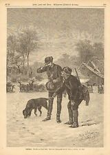 Dog Or Wolf? Tracks In The Snow, Winter, Vintage 1875 German Antique Art Print