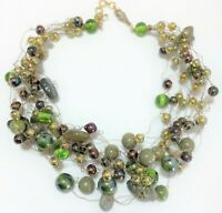Vintage Manouk Artistic Green Glass Stone Bead Wired Necklace Multi Strand 419