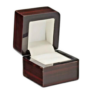Real wood black red Retro Vintage high gloss finish proposal ring Present box