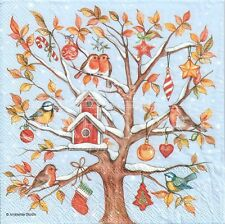 4 Single paper decoupage napkins. Christmas, Good morning birds, Xmas -X105