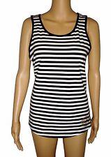 Michael Kors Women's Tank Top Black & White Stripe Studded MK Logo NWT $59 Med
