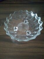 "Vintage American Fostoria Cubist Clear Glass 3 Footed  6.5"" Candy Dish Nut dish"