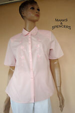 CHEMISIER BRODE MARQUE* MARKS & SPENCER* COL CLAUDINE ROSE PALE NEUF T 42/44 16