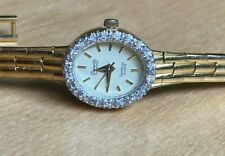 Vintage Armitron Deauville 10 Diamonds 25/5846 Quartz Watch Gold Tone Swiss