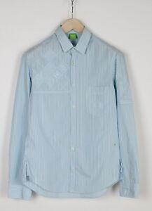 HUGO BOSS GREEN LABEL BLACK Men's SMALL Embroidered Chalk Stripe Shirt 34308_GS