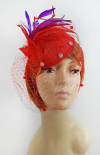 RED SATIN HEAD BAND W/ FEATHERS NETTING CRYSTALS FOR LADIES OF SOCIETY DERBY DAY