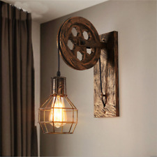 Loft Industrial Retro Wall Lamp Single Head Lifting Pulley Sconce Light Fixture