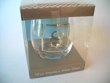 Monogram S ~ Stemless Wine Glass 19oz ~ Gift Idea ~