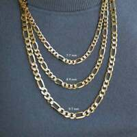 Solid 14K Yellow Gold Italian Figaro Link Chain Necklace