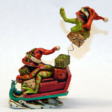 Neil Eyre Eyredesigns Set of 2 lady girl female hair bow tree frog family pond frogs toad exclusive figurine sculpture signed and numbered