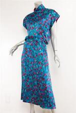 KARL LAGERFELD VINTAGE Blue Magenta Floral Silk Mock Neck Long Pocket Dress 2-38