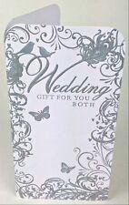 Wedding Day Money Gift Holder Wallet Voucher Cash Card Silver White Bride Groom