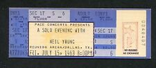 1983 Neil Young Solo Tour unused concert ticket Dallas Texas Everybody's Rockin