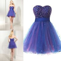 Sweet Beaded Short Cocktail Prom Dress Tulle Formal Evening Party Ball Gown 2-16