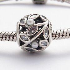 OPEN FLOWERS with PEARLS CHARM Bead Sterling Silver.925 4 European Bracelets 587