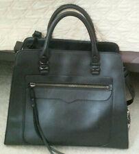 Rebecca minkoff black leather satchel handbag  EUC crossbody top handle top zip