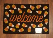 Halloween Doormat Door Rug 18 x 28 Outdoor Coir Black Orange Candy Corn Welcome