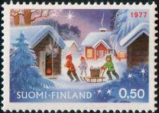 Finland 1977 Christmas, Snow, Star, Children Play , MNH
