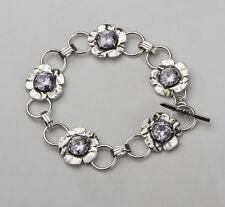 B00924LV SHABLOOL ISRAEL Lavender CZ Sterling Silver 925 Lovely Flowers Bracelet