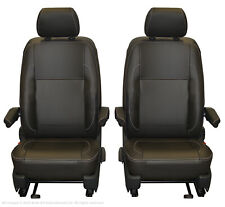 VW TRANSPORTER T6.1 T6 T5.1 Front Inka Tailored Seat Covers Black Leatherette